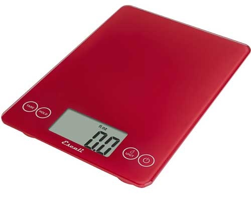 Escali Arti Glass Digital Scale, Retro Red