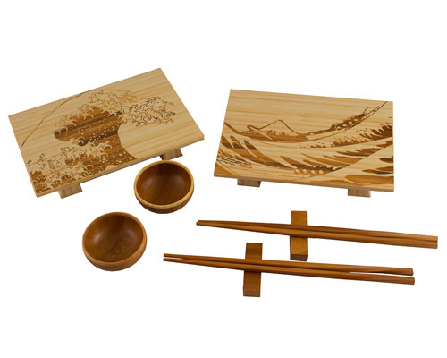 Totally Bamboo 8pc Wave Sushi Set- Light