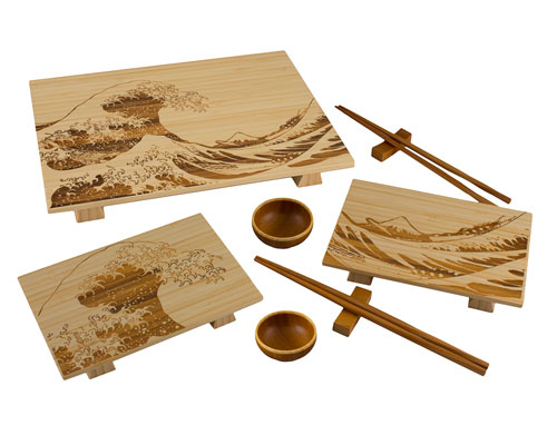 Totally Bamboo 9pc Wave Sushi Serving Set- Light
