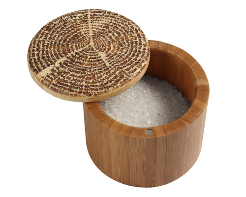 Totally Bamboo Round Salt Box- Tree of Life