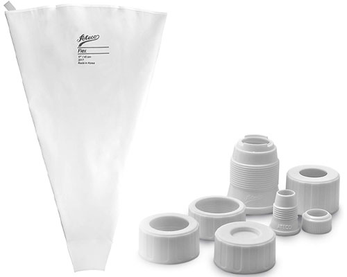 Ateco 17 in. Pastry Bag and 4pc. Cap and Coupler Set
