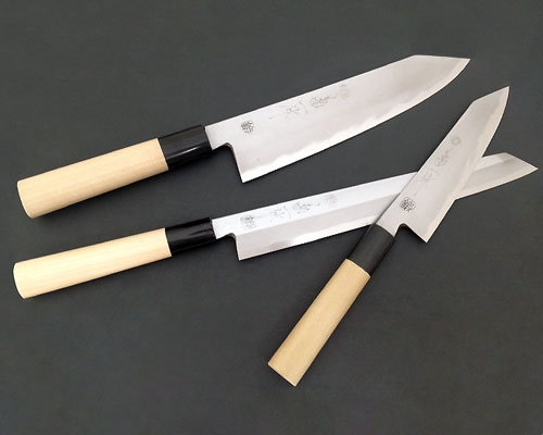 Kikuichi White Carbon 3 Piece Kiritsuke Set